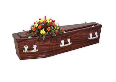 China High Gloss Western Style Caskets , Funeral Home Casket With Metal Handle Unique Design supplier