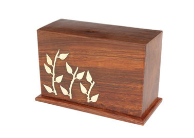 China Laser Engraved Logo Cinerary Casket Solid Pine Wood Dark Color Smooth Finish supplier