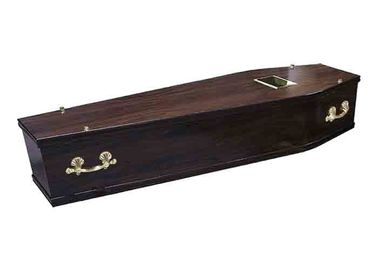 China Handwork Dark Brown Russian Casket , Full Couch Custom Made Coffins supplier