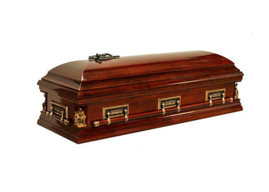 China Full Couch Gloss Adult Casket , Velvet Wood Funeral Coffins And Caskets distributor