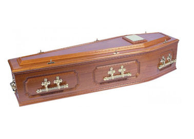 "China Solid Wood Funeral Showroom Caskets , 28"" Plain Chinese Wooden Caskets factory"