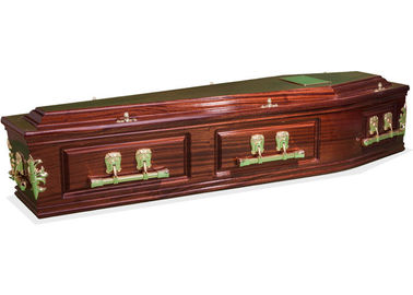 China Solid Wood Natural Burial Caskets , High Gloss Custom Painted Caskets With Feet Cover Special Design factory