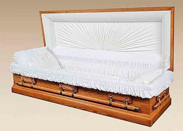 China Solid Wood Dark Red Simple Wooden Caskets , Full Couch Burial Coffins And Caskets distributor