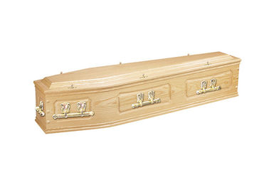 "China Standard Size American Style Coffin , Handmade Hardwood Caskets 28"" Dimensions factory"