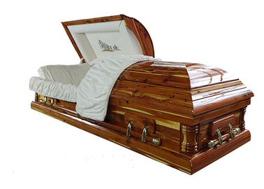 China High Skilled Funeral Old Style Coffin , Wood Velvet Environmentally Friendly Coffins factory