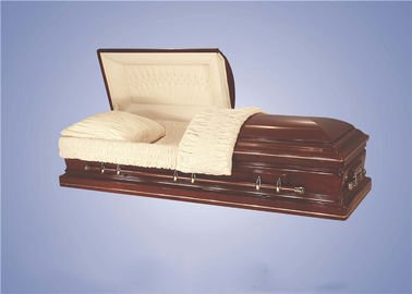 China American Style Funeral Casket With Gold Hardware Fittings And Handles factory