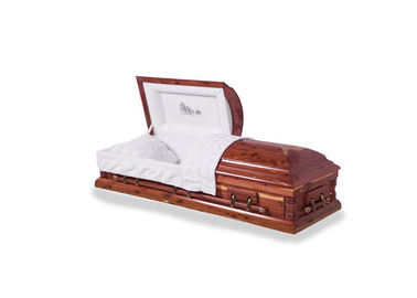 China Velvet Handmade Wooden Coffins , USA Style Burial Coffins And Caskets distributor