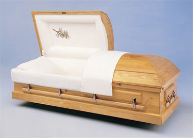 China Paulownia Wood American Style Coffin , Solid Wood Velvet Adult Casket distributor