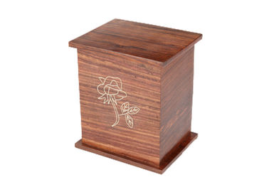 China Vintage Style Funeral Ashes Containers , Solid Wood Cinerary Urns For Human Ashes distributor