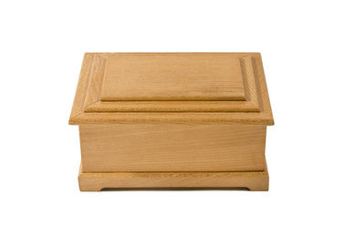 China American Birch Wooden Pet Cinerary Casket Natural Color With Hinged Lid distributor