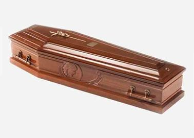 China Polished Funeral Solid Wood Caskets Velvet Liner With Lowering Device distributor