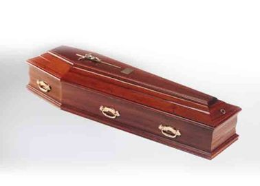 China Funeral Solid Wood Caskets Velvet Liner Polished Color Custom Design distributor
