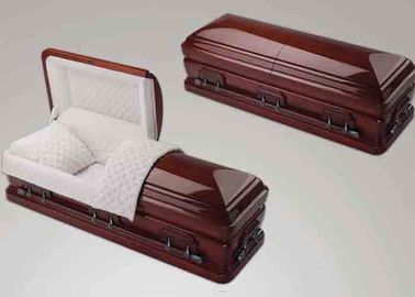 China Red Color Unfinished Handmade Wooden Coffins With Bed For Adult Custom Design distributor