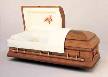 China Printing Brown Color Wooden Infant Casket Soft Lining With Good Hardware distributor