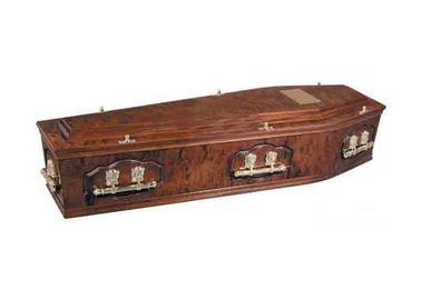 China Russian Style Solid Wood Caskets Clear Lacquer With Metal Material Hardware factory