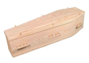 China Custom Natural Burial Caskets , Wood Grain Russian Coffin Full Couch Type distributor