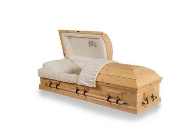 China Natural Color Adult Russian Style Casket Wooden Coffin With Adjustable Bed distributor