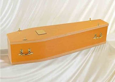 China Luxury Handmade Russian Style Casket Natural Wood Coffin With Custom Color distributor