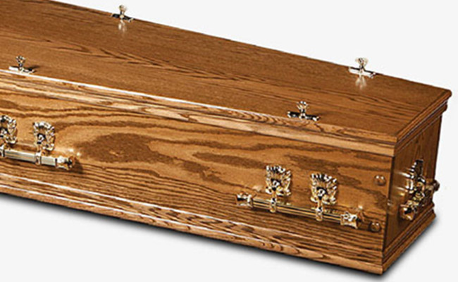 Solid Wood Natural Burial Caskets , High Gloss Custom Painted Caskets With Feet Cover Special Design