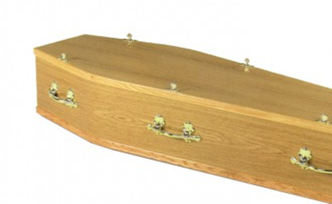 Solid Wood Dark Red Simple Wooden Caskets , Full Couch Burial Coffins And Caskets