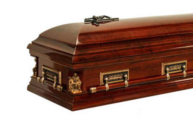 Full Couch Gloss Adult Casket , Velvet Wood Funeral Coffins And Caskets