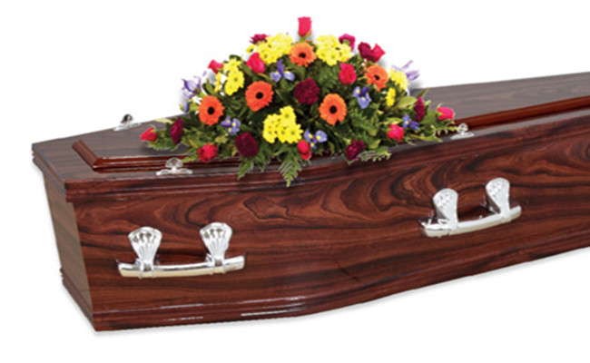 High Gloss Western Style Caskets , Funeral Home Casket With Metal Handle Unique Design