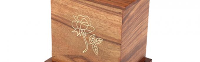 Laser Engraved Logo Cinerary Casket Solid Pine Wood Dark Color Smooth Finish
