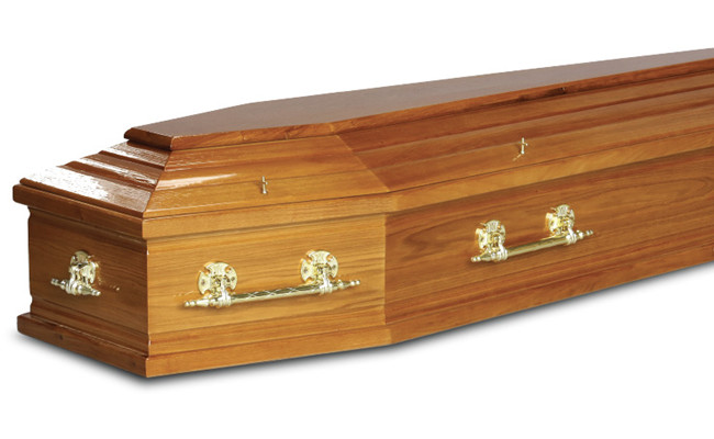 Polished Funeral Solid Wood Caskets Velvet Liner With Lowering Device